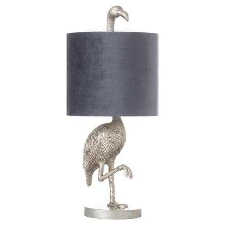 Florence The Flamingo Silver Table Lamp With Grey Shade